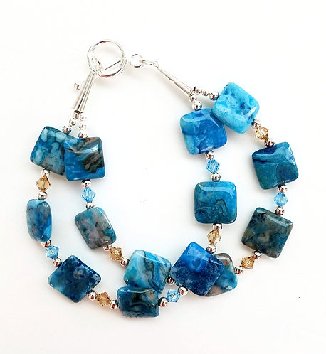 2 Strand Blue Agate Crystal Bracelet
