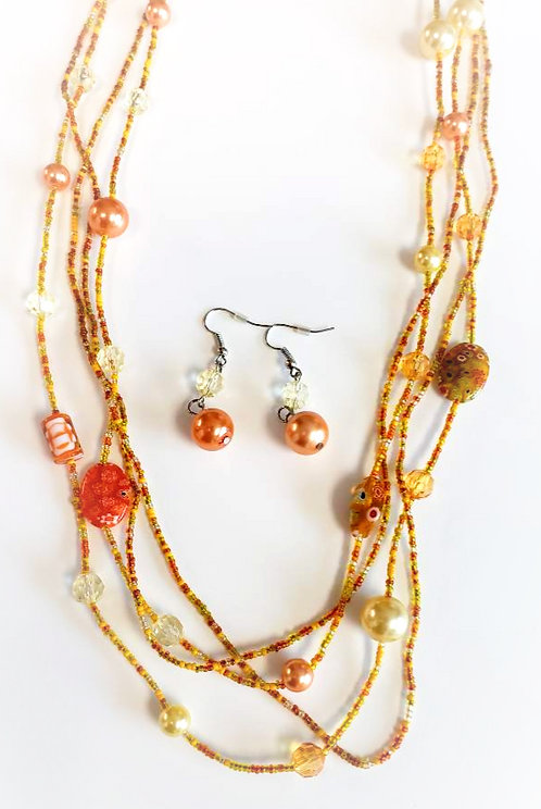 Two Orange/Yellow Beaded Wrap Necklace & Earring Set