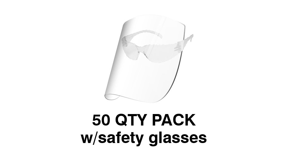 Redco Face Shield with Safety Glasses (Pack of 50) $USD