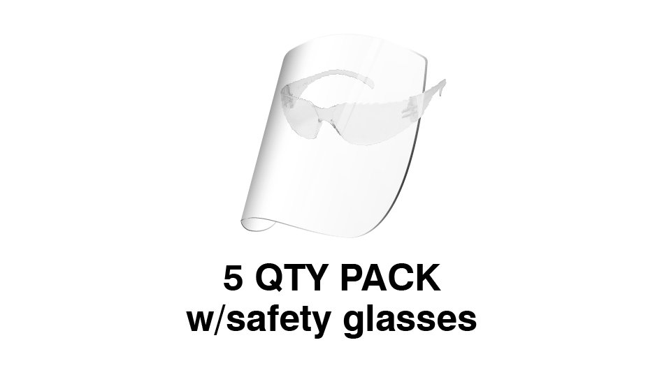 Redco Face Shield with Safety Glasses (Pack of 5) $USD