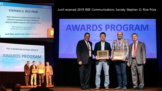 Junil received 2019 IEEE Communcations Society Stephen O. Rice Prize.