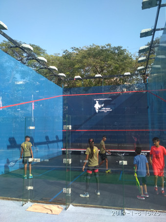 START kids on the all-glass court at the CCI International, Mumbai