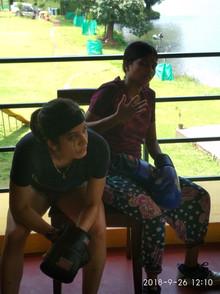 Sachika with Bijali, mid-boxing