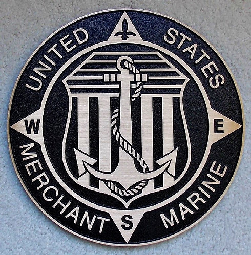 "Cast Bronze US Merchant Marine Plaque 10"" Diameter"