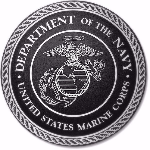 "Cast Aluminum Department of the Navy -US Marine Corps Plaque 10"" Diameter"
