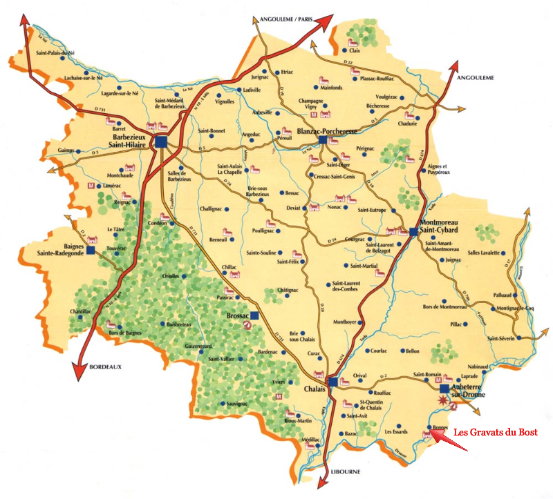 Map of the South Charente