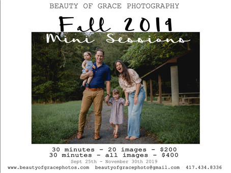 FALL 2019 MINI SESSION PHOTOSHOOT INFO || JOPLIN MISSOURI