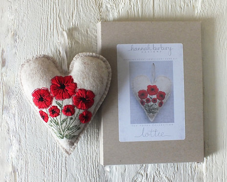 Lottie Hand Embroidery Kit - Poppy Hanging Heart, DIY Embroidery Kit