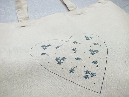 Beatrice Tote Bag - Screen Printed and Hand Painted