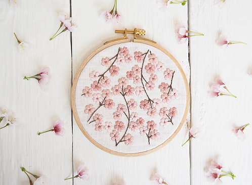 Bobbie Hand Embroidery Kit - Blossom Flower Design, DIY Embroidery Kit, DIY Home