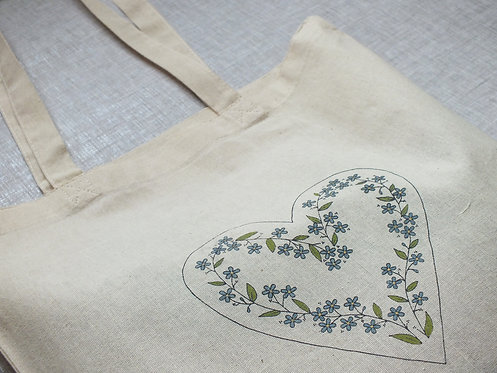 Forget-me-not Mary Tote Bag - Screen Printed and Hand Painted