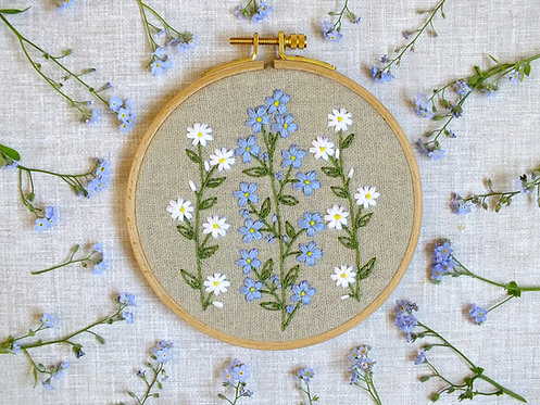 Camille Embroidery Kit - Forget-me-not Round Embroidery Hoop
