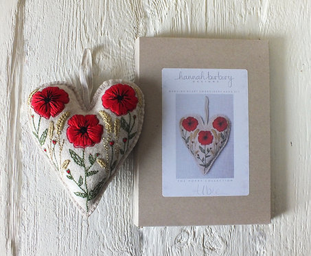 Albie Hand Embroidery Kit - Poppy Hanging Heart, DIY Embroidery Kit