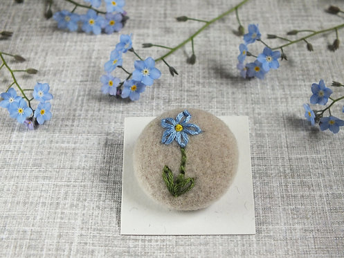 Hand Embroidered Forget-me-not button