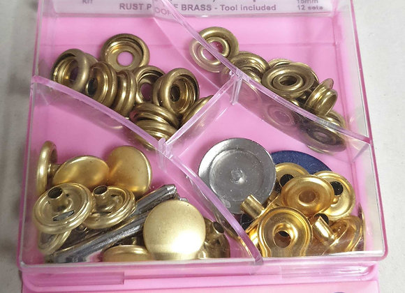 Heavy Duty Snaps,15mm Rust proof Brass.Tool lnclued