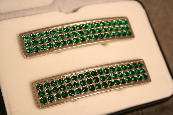 Silver tone w/green rhinestones