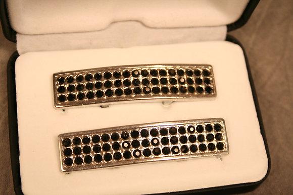 silver tone SneakBars with black rhinestones