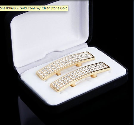Sneakbars gold tone with Clear rhinestones