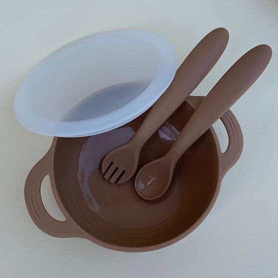Kit Tigela + Talheres - Caramelo -