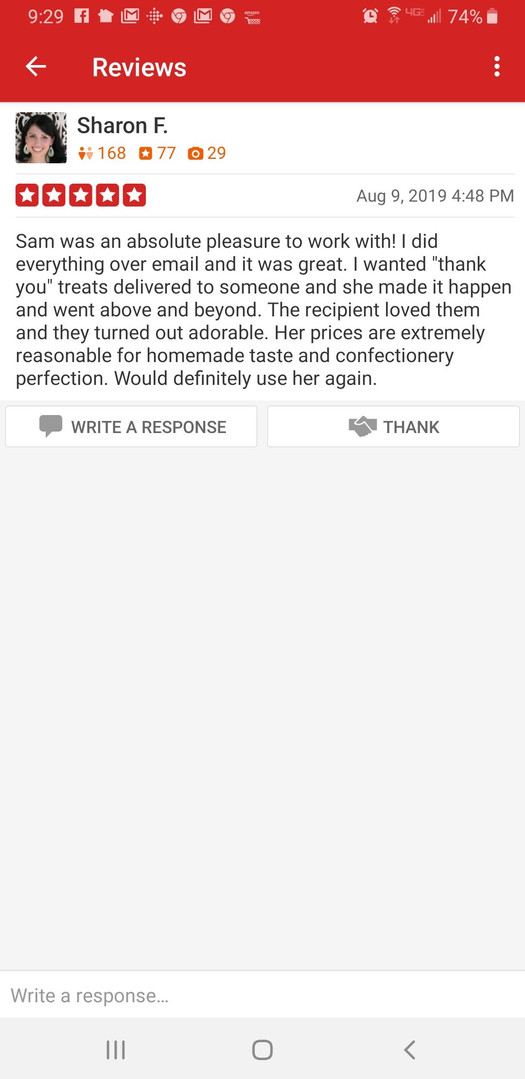 Yelp Review from Sharon