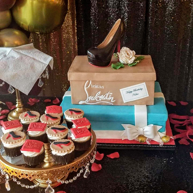 Tiffany and Louboutin Cake Boxes with Chocolate High Heel