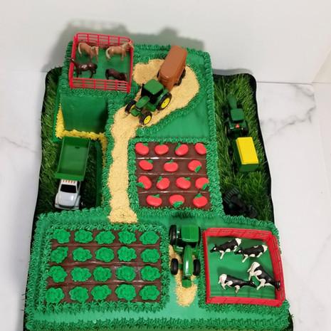 No. 1 Farm Shaped Birthday Cake