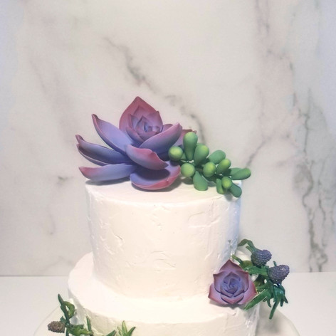 Two Tiered Rustic Frosting Succulent and Thistle Wedding Cake