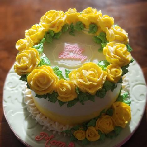 "6"" Yellow Rose Cake for Mom's Birthday"
