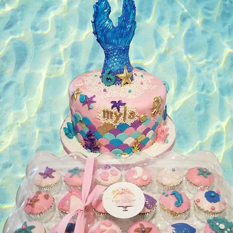 Mermaid Fantasy Birthday Cake and Cupcakes
