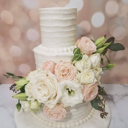 Three Tiered Floral Beauty Wedding Cake