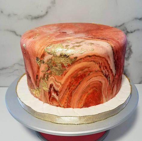 Pantone Orange Marble Fondant Cake