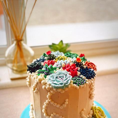 "6"" Double Barrel Succulent Birthday Cake"