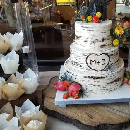 Birch Tree Wedding Cake and Cupcakes
