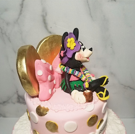 Side view of Tropical Minnie Mouse Cake