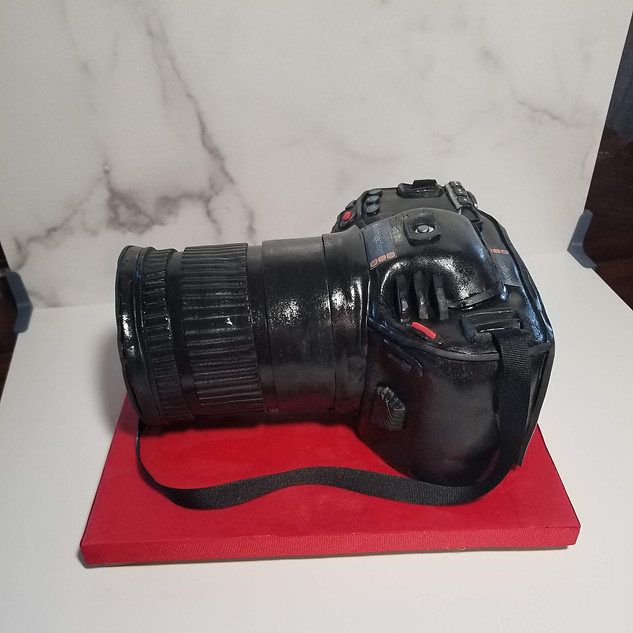 Side View of 100% Edible Camera Cake