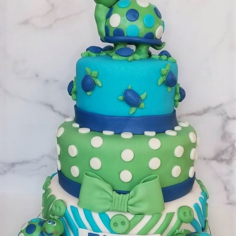Adorable Turtle Themed Baby Shower Cake