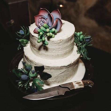 Thistle Wedding Cake for Cassie and Chris