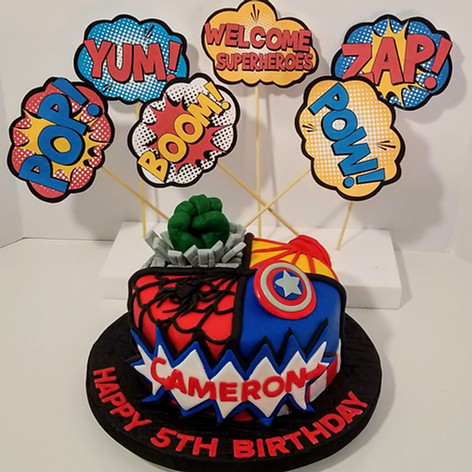Avenger's Cake with Pop Out Art