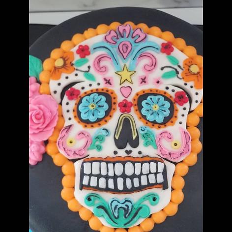 Detailed Work on Sugar Skull Birthday Cake