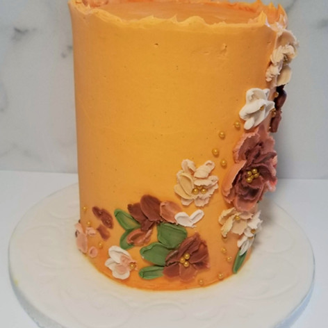 Side view of Hand Painted Buttercream Floral Elopement Cake