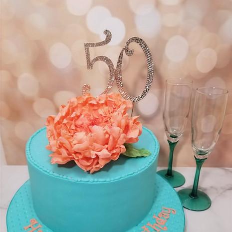 "50th Peony 8"" Birthday Cake"