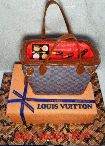Louis Vuitton Purse and Gift Box Cakes with hand painted snakeskin board