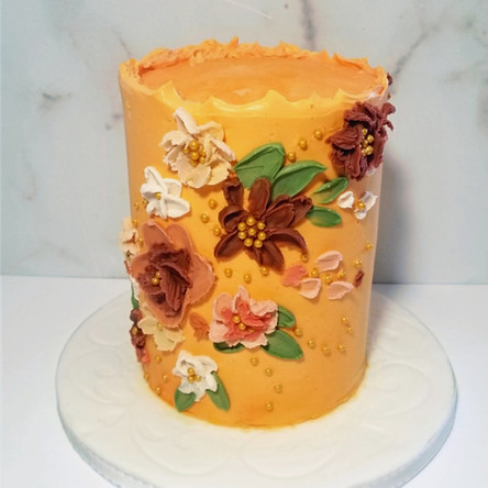"Hand Painted 6"" Round Double Barrel Wedding Cake"