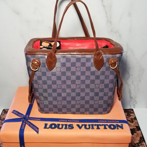 LV Edible Purse and Gift Box Cakes on handpainted snakeskin board