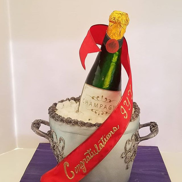Champage Bucket and Bottle Cake