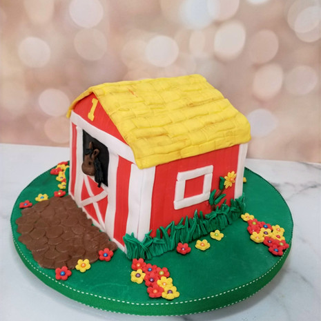 Barn Smash Cake to Match 1st Birthday Cake