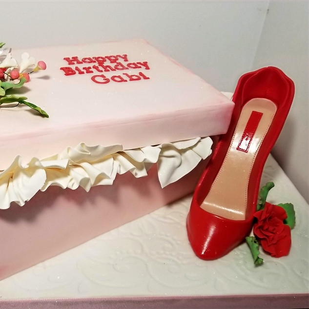 Shoe Box Birthday Cake and Sugar High Heel Shoe