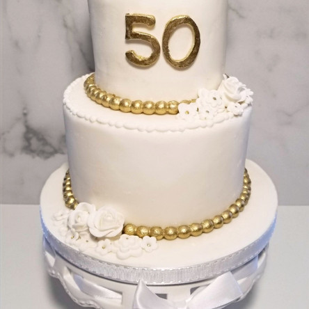 50th Anniversary Cake - 4 and 6 inch tiers