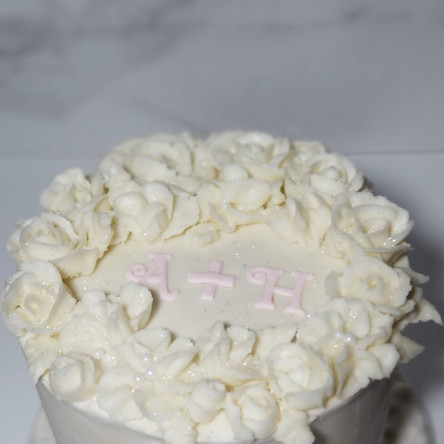 "Mini 6"" Buttercream Crown of Flowers Elopement Cake"