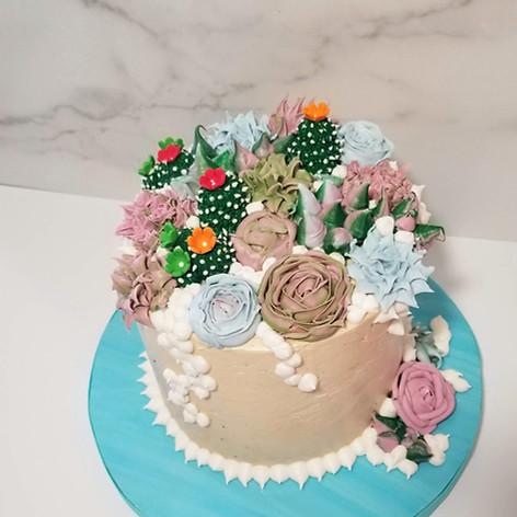 Desert Succulent Birthday Cake